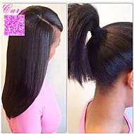 Naisten Aitohiusperuukit verkolla Aidot hiukset Full Lace Liimaton kokoverkko 120% Tiheys Suora Peruukki Musta Lyhyt Keskikokoinen Pitkä