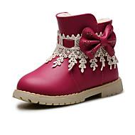 Jente Baby Støvler Komfort Trendy støvler Kunstlær Vår Høst Vinter Bryllup Avslappet Formell Komfort Trendy støvler Sløyfe Glidelås Dusk