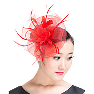 cheap Wedding Headpieces-Feather Polyester Fascinators Headwear with Floral 1pc Wedding Special Occasion Casual Outdoor Headpiece