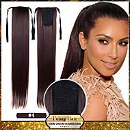 22 pulgadas # 8 # 12 # 16 # 27 # 33 Corte Recto Coletas Sintético Pedazo de cabello La extensión del pelo