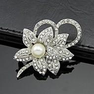 hesapli -Kadın's Broşlar Kübik Zirconia Gümüş alaşım Beyaz Şık Mücevher Günlük Kostüm takısı