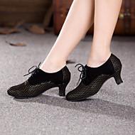 billige Moderne sko-Dame Moderne sko Semsket lær Høye hæler Snøring Kubansk hæl Kan ikke spesialtilpasses Dansesko Gul / Fuksia / Innendørs / Ytelse / Trening / Profesjonell