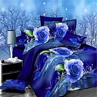 preiswerte Bettbezüge-Bettbezug-Sets Blumen 4 Stück Polyester / Baumwolle Reaktivdruck Polyester / Baumwolle 4-teilig (1 Bettbezug, 1 Bettlaken, 2 Kissenbezüge)