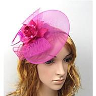 お買い得  ヘア・アクセサリー-チュール 羽毛 - 魅力的な人 フラワーズ 帽子 ヘアークリップ 1 結婚式 パーティー カジュアル アウトドア かぶと