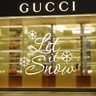 סגנון מדבקות חלון מדבקות חלון לתת לו מילות באנגלית שלג&מצטט חלון PVC מדבקות