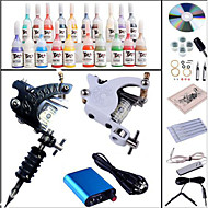 Starter Tattoo Kits-Tattoo Machine Starter Kit 2 steel machine liner & shader Mini power supply 1 x aluminum grip 10 pcs Tattoo Needles