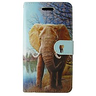 billiga Mobil cases & Skärmskydd-fodral Till iPhone 5-fodral Korthållare Plånbok med stativ Lucka Fodral Elefant Hårt PU läder för iPhone SE/5s