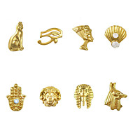 50pcs Mix Egypt Theme 8 Designs 3D Gold Nail Art Alloy