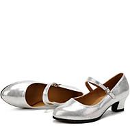 """billige Moderne sko-Dame Moderne Ballett Kunstlær Høye hæler utendørs Spenne Lav hæl Svart Rød Sølv Gull 1 """"- 1 3/4"""" Kan ikke spesialtilpasses"""