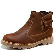 baratos Sapatos Femininos-Unisexo Sapatos Pele Napa Outono Conforto / Botas Cowboy / Country / Botas de Montaria Botas Preto / Castanho Claro / Botas da Moda