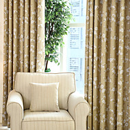 billige Mørkleggingsgardiner-To paneler Window Treatment Rustikk Moderne Neoklassisk Middelhavet Rokoko Barokk Europeisk Designer Soverom Polyester MaterialeBlackout