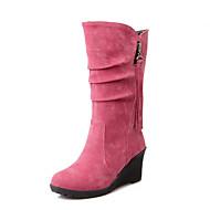 baratos Sapatos Femininos-Mulheres Sapatos Flanelado Outono / Inverno Conforto / Botas de Neve Botas Caminhada Salto Plataforma Ponta Redonda Ziper / Mocassim