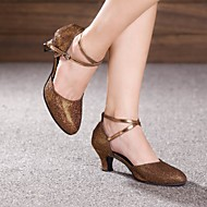 billige Moderne sko-Kan spesialtilpasses-Dame-Dansesko-Moderne-Glimtende Glitter-Kustomisert hæl-Svart Brun Sølv Gull