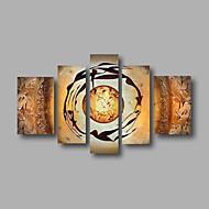 billiga Topp Konstnär-HANDMÅLAD AbstraktModerna Fem paneler Kanvas Hang målad oljemålning For Hem-dekoration