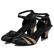 billige Moderne sko-Dame Sko til latindans / Ballett Lær Høye hæler Spenne Tykk hæl Kan spesialtilpasses Dansesko Svart og Rød / Sort og Gull / Innendørs