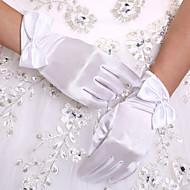 Χαμηλού Κόστους Αξεσουάρ για πάρτι-Ελαστικό Σατέν Μέχρι τον καρπό Γάντι Νυφικά Γάντια With Φιόγκος