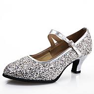 billige Moderne sko-Dame Moderne Syntetisk Høye hæler Trening Nybegynner Profesjonell Innendørs Spenne Glimtende Glitter Kustomisert hæl Svart Rosa Sølv Blå