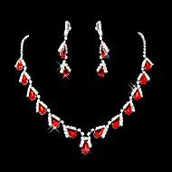 Synthetic Ruby Roztomilý Party Kamínky a křišťál Syntetické drahé kameny Zirkon Postříbřené Umělé diamanty Slitina Kapka Náhrdelník