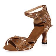 baratos Sapatilhas de Dança-Mulheres Sapatos de Dança Latina Camurça Sandália Estampa Animal Salto Carretel Não Personalizável Sapatos de Dança Marron / Preto /