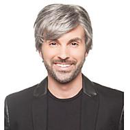 Mulher Homem Perucas sintéticas Curto Reto Cinzento Com Franjas Peruca de Halloween Peruca de carnaval Peruca para Fantasia