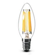 billige Stearinlyslamper med LED-600 lm E12 LED-lysestakepærer C35 6 leds COB Mulighet for demping Varm hvit AC 110-130V