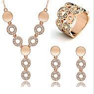 Mulheres Cristal Rosa ouro Zircônia Cubica Strass Rosa Folheado a Ouro Conjunto de jóias Brincos Colares Anél - Vintage Festa Trabalho