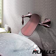 アンティーク 壁式 滝状吐水タイプ セラミックバルブ 三つ 二つのハンドル三穴 オイルブロンズ , 浴槽用水栓 バスルームのシンクの蛇口