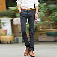 Masculino Simples Cintura Média Sem Elasticidade Delgado Negócio Calças,Sólido