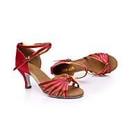 baratos Sapatilhas de Dança-Mulheres Sapatos de Dança Latina / Sapatos de Salsa Cetim Sandália Presilha Salto Personalizado Personalizável Sapatos de Dança Marrom /