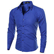 cheap -Men's Work Plus Size Cotton Slim Shirt - Solid Colored Basic Spread Collar / Long Sleeve / Spring / Fall