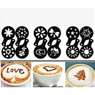 cheap Coffee and Tea-12PCS Plastic Fancy Coffee Making Printing Model Minimalist Design Dusting Pad