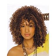 Synthetische pruiken Kinky Curly Synthetisch haar Haar met highlights / balayage / Afro-Amerikaanse pruik Bruin Pruik Dames Kort Zonder kap Bruin