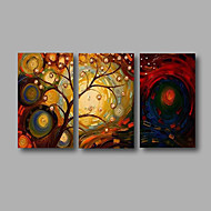 "Ready to Hang Stretched Hand-Painted Oil Painting 48""x28"" Three Panels Canvas Wall Art Modern Life Trees"
