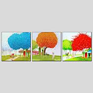 מצויר ביד פרחוני/בוטנימודרני / סגנון ארופאי שלושה פנלים בד ציור שמן צבוע-Hang For קישוט הבית