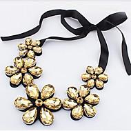Per donna Cristallo Madre figlia Collane Statement Pelle Fiore decorativo Donne Oro Arcobaleno Collana Gioielli Per Feste