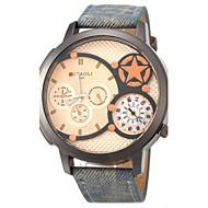 JUBAOLI Masculino Relógio Militar Relógio de Pulso Dois Fusos Horários Quartzo Couro Banda Preta Azul Cinza Amarelo