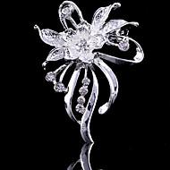Dame Brocher Blomst Fest Kontor Afslappet Mode Kvadratisk Zirconium Broche Smykker Sølv Til Bryllup Fest Speciel Lejlighed Jubilæum Fødselsdag Gave