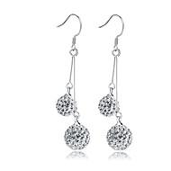 Brincos Compridos Imitação de Diamante Clássico Prata de Lei Cristal imitação de diamante Caído Prata Jóias Para Casamento Festa Diário
