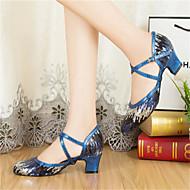 billige Moderne sko-Kan spesialtilpasses - Dame - Dansesko - Latinamerikansk / Moderne / Salsa / Samba - Paljetter - Kustomisert hæl - Svart / Blå