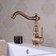 billige Rabatt Kraner-Baderom Sink Tappekran - Foss Antikk Messing Centersat Enkelt Håndtak Et HullBath Taps