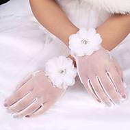 billiga Brudhandskar-Elastisk satäng / Polyester / Tyll Handledslängd Handske Klassisk / Brudhandske Med Enfärgad
