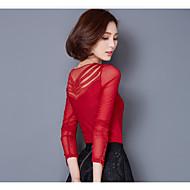 Veći konfekcijski brojevi Majica s rukavima Žene Jednobojni V izrez Čipka Najlon Spandex
