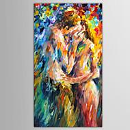billiga Människomålningar-HANDMÅLAD Människor / Abstrakta porträttModerna / Europeisk Stil En panel Kanvas Hang målad oljemålning For Hem-dekoration
