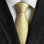 Men's Fashion Light Golden Checked JACQUARD WOVEN Necktie Necktie
