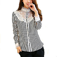 Majica Ženski,Jednostavno Rad Geometrijski oblici-Dugih rukava Kragna košulje-Proljeće Bijela Tanko Akril / Poliester / Spandex