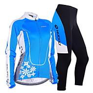 Nuckily Cykeltrøje og tights Dame Langt Ærme Cykel TøjsætVindtæt Anatomisk design Fugtpermeabilitet Forside Lynlås Indebygget Kedeltaske