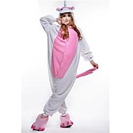 Voksne Kigurumi-pyjamas Unicorn Onesie-pyjamas Polarfleece Lys pink Cosplay Til Damer og Herrer Nattøj Med Dyr Tegneserie Halloween Festival / Højtider