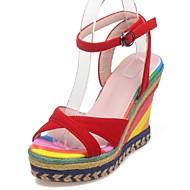 baratos Sapatos Femininos-Feminino Sapatos Flanelado Courino Primavera Verão Salto Plataforma Presilha Tira Trançada Para Casual Social Festas & Noite Preto