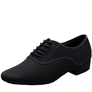 Latin Men's Dance Shoes Heels Canvas Low Heel Black