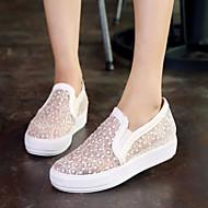baratos Sapatos de Tamanho Pequeno-Mulheres Sapatos Courino Primavera / Verão / Outono Plataforma Combinação Branco / Preto / Rosa claro